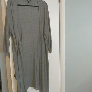 Gray Cardigan Duster with Laces Detail